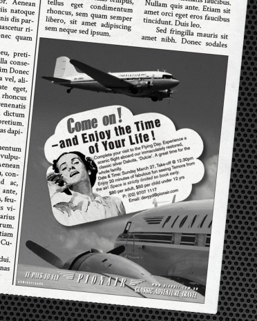 Temora Flying Days Newspaper advertisement. Classic DC3 Airliner 'Golden Era of Air Travel' campaign theme. Pionair Australia, Sydney. Black & white newspaper small advertisment.