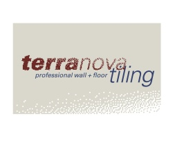 Terranova: professional wall + floor tiling logo. Logo for German trained craftsman tiling professional, Camillo Schulz. Brands for New Zealand businesses, Christchurch.