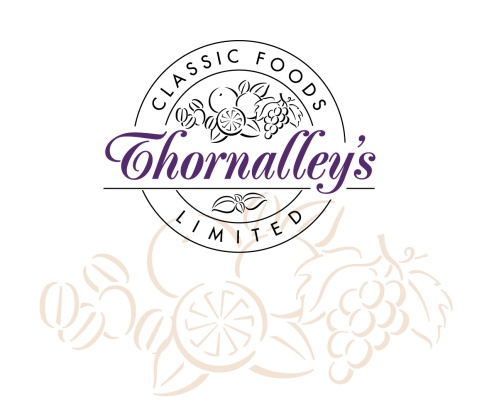 Thornalley's Classic Foods Logo. Roundel logo, bold italic type within and among icons of fruit and nuts.Thornalley's manufacture, wholesale distribute and retail hand-crafted fruit cakes. Brands for New Zealand companies, Nelson, New Zealand, 2003