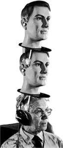 Three thinkers' thought graphic. Scientist wearing headphones sits with 2 mannequin heads atop his, also wearing headphones.