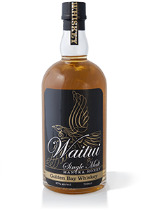 Bottle of Waitui Single Malt Manuka Honey Whiskey from Golden Bay, packaging design, illustrated logo, calligraphy, bottle on white background, consumer product, brands for New Zealand companies, brand naming, product renaming, rebranding for growth