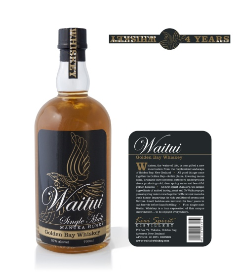 Waitui Single Malt Manuka Honey Golden Bay Whiskey full packaging label system, front, back and top. Waitui is a small batch Whiskey, barrel aged 4 years. Hand crafted in Takaka, New Zealand.