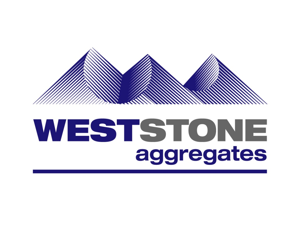 West-Stone Aggregates symbol over type logo. The symbol, a silhouette of a dark blue, stylized, edgy cut-line trio of slumped aggregate heaps, implies both a
