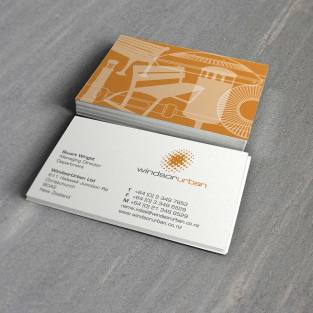 Windsor Urban logo and business cards close-up of the two-sided design