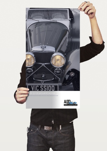 Commemorative 1939 SS100 Jaguar Roadster poster, signed by the craftsmen who restored it and gifted to the owner by Auto Restorations.