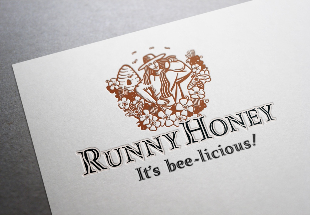 "Runny Honey symbol and type logo, product name and positioning statement ""It's bee-licious"". A stylized line illustration of a woman apiarist set amongst a beehive, clover and bees pours Runny Honey from a jug into a honey jar. The"