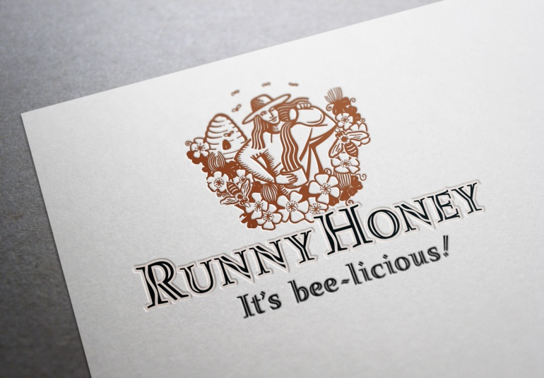 "Runny Honey symbol and type logo, product name and positioning statement ""It's bee-licious"". A stylized line illustration of a woman apiarist set amongst a beehive, clover and bees pours Runny Honey from a jug into a honey jar. The ""S"" curve of the poured honey is echoed in the ascenders of the incised handlettering of the company name. Trademark and packaging label for a range of honey, and other bee products, for apiarist training and consultancy. Brands for New Zealand companies."