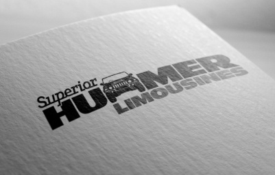 "Superior Hummer Limousines letter replacement logo in two colours, black and dark grey on white. ""Superior"" is set in Javelin a joined-up slab serif italic font inspired 50s automobile badging, positioned above and left of Hummer which is set in all-caps. The first ""M"" in hummer is replaced by a line drawing of the front elevation of the Hummer. Hummer and Limousines words both set all caps in custom modified Antique Olive Nord font, horizontally extended consistent with Hummer branding. ""Superior Hummer"" are black, Limousines is dark grey, tucked in below Hummer, aligned right. Brands for New Zealand companies, Christchurch New Zealand."
