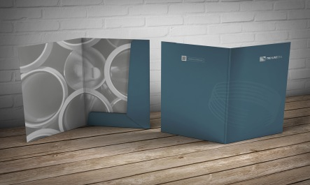 Combined interior and exterior view of Tru-Line Civil document folder / presentation folder presented as a photorealistic visual / mock-up