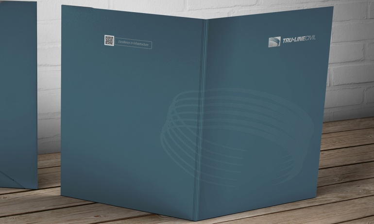 Exterior view of Tru-Line Civil, document folder / presentation folder presented as a photorealistic visual / mock-up