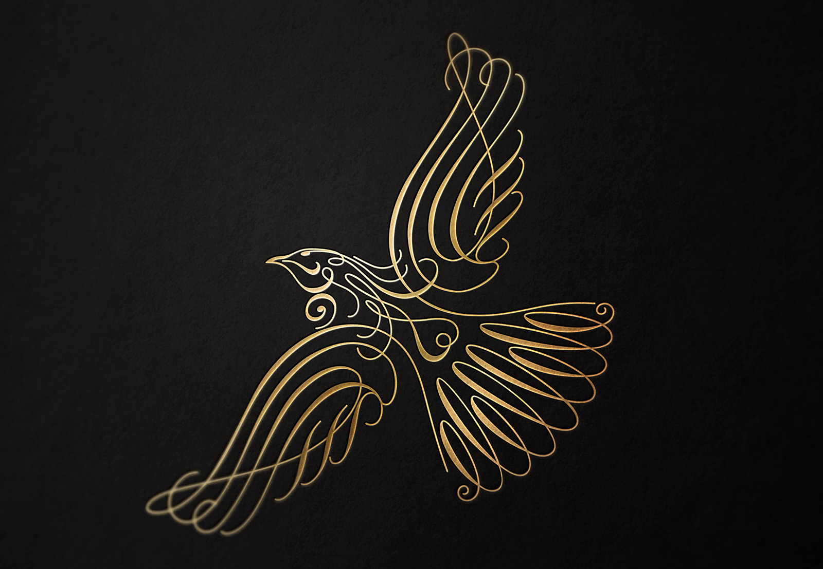 Waitui Golden Bay Manuka Honey Whiskey trademark. The rhythmic looped Waitui calligraphic logo illustration of a native tui in flight, matched embossed metallic gold on a black card background. graphic design studio, design consultancy, creative design, graphic design, web design, print design, Christchurch, New Zealand, logo design, brand design, logos, corporate identity, originating company, originating product names right, packaging, Illustration, advertising, creative design