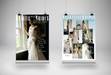 Set of three Beautiful Brides of Hope bridal couture instore display posters, tradeshow advertising posters in a retail showroom environment. Instore display posters, tradeshow advertising posters. Advertising and promotional design, print production. Hope, Nelson, New Zealand.