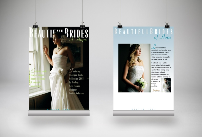 Set of three Beautiful Brides of Hope bridal couture instore display posters, tradeshow advertising posters. Advertising and promotional design, print production. Hope, Nelson, New Zealand.
