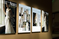 Set of three Beautiful Brides of Hope bridal couture instore display posters, tradeshow advertising posters in a retail showroom environment, tradeshow advertising posters. Advertising and promotional design, print production. Hope, Nelson, New Zealand.