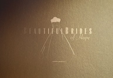 Closeup of Beautiful Brides of Hope bridal couture logo symbol within and amongst type, showcasing the elegant, finessed bridal illustration and type that together create an integrated singular brand expression. Hope, Nelson, New Zealand.