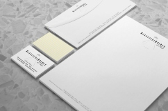 Beautiful Brides of Hope bridal couture stationery system, letterhead, envelope and business cards, three colour, pastel yellow, pastel grey and black, logo symbol within and amongst type, subtle bridal striped patten on the back, Brand naming, Brand and identity systems design, Illustration, icon design, print production