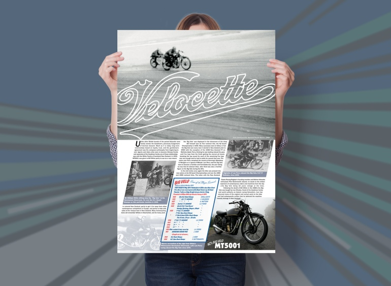 "Velocette; NZ's Big Velo, MT5001. One of two educational posters about New Zealand's ""Big Velo"", MT 5001 designed for Velocette Racing New Zealand. This poster features the N.Z. history of this rare classic factory 500cc racer. The feature image is from the Muriwai Beach Races 1966, showing the Big Velo leading a Triumph. Poster design and print, Christchurch, New Zealand."