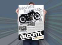 "World's fastest; the consistent Velocette. NZ's Big Velo, MT5001. One of two educational posters about New Zealand's ""Big Velo"", MT 5001 designed for Velocette Racing New Zealand. This poster features the U.K. history of this rare classic factory 500cc racer. Poster design and print, Christchurch, New Zealand."