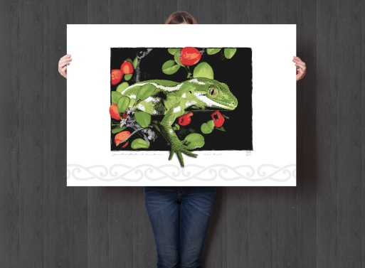 Jewelled Gecko Giclée on white background, A1 size. Illustration, New Zealand wildlife art.