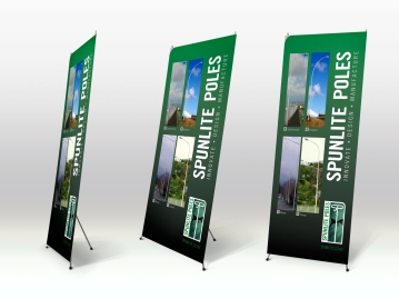 Pull up display sign for Christchurch streetlight manufacturer Spunlite poles. Signage and display, advertising and promotion, tradeshow display, Christchurch, New Zealand.