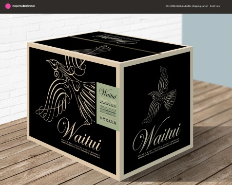 Draft design for 6 bottle shipping carton. Front view. Packaging.
