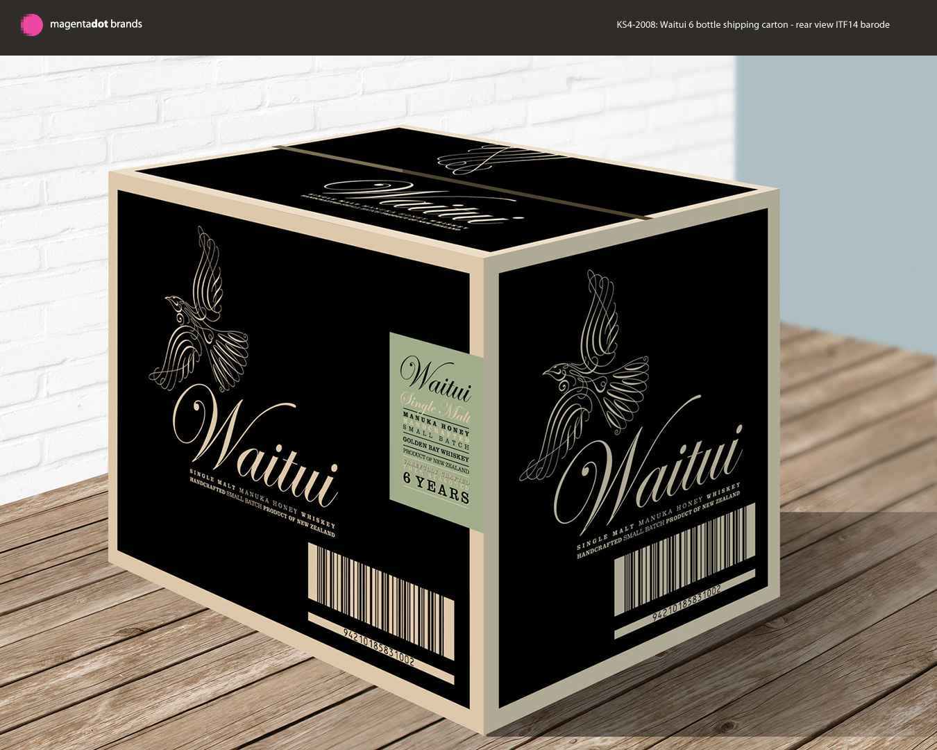 Draft design for 6 bottle shipping carton. Rear view. Packaging.