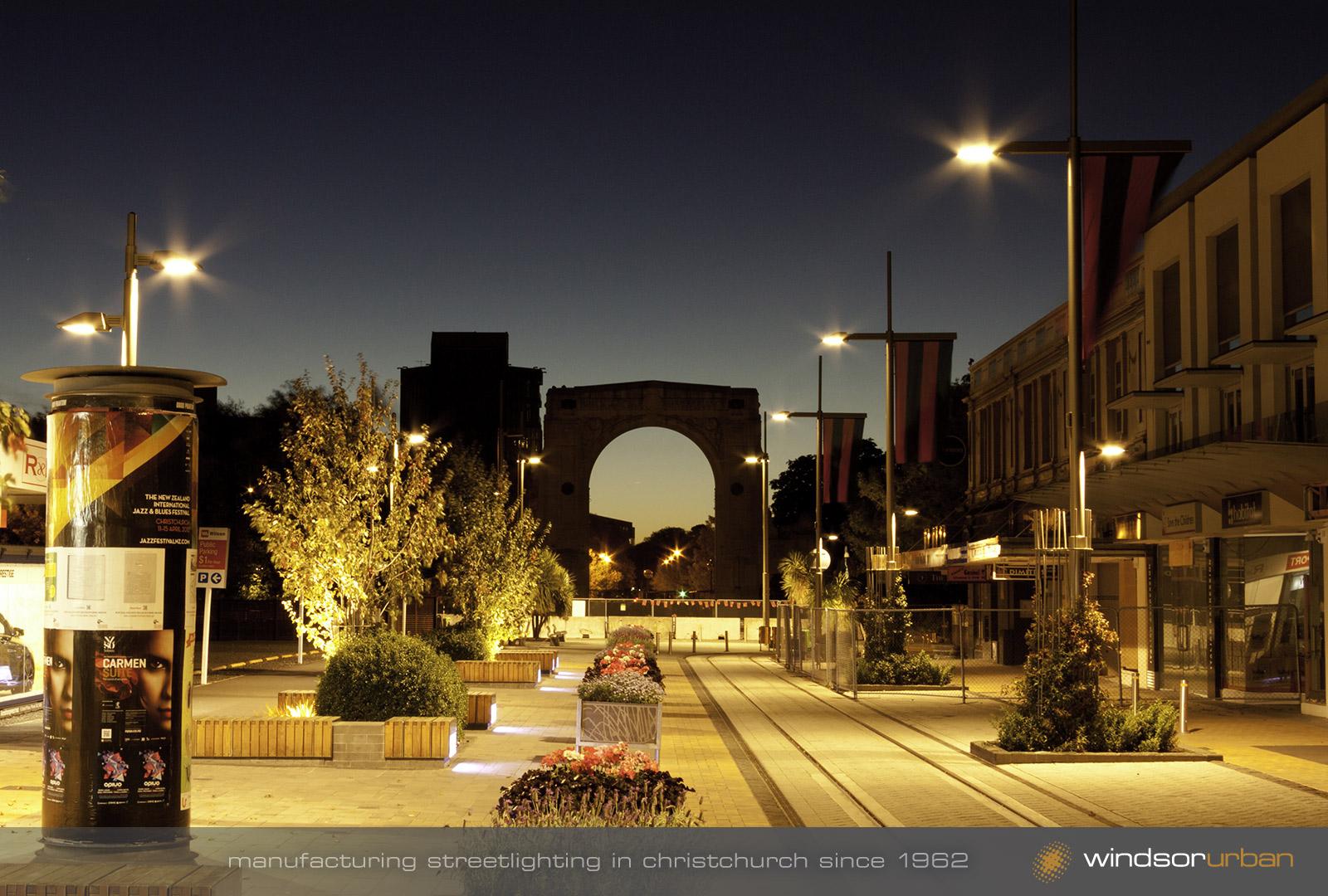 Cashel Street Pop-up Mall night photography post earthquake illuminated at & Urban Lighting manufacturing | MagentaDot Brands