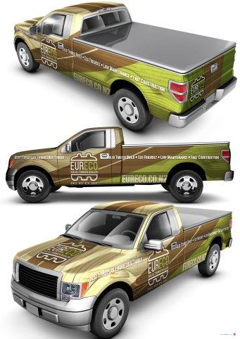 Eurowood vehicle wrap schematic.