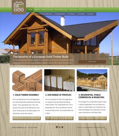 """Home alt. 01a—Woodgrain background total wallpaper effect. Banner slide: """"The benefits of a European solid timber build """"."""