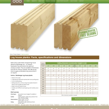 "Product item or catalogue item page—Stencil style alt. - ""Log-house planks: facts, specifications and dimensions."" item page showing clrx product shot and a DRAFT table of available dimensions."