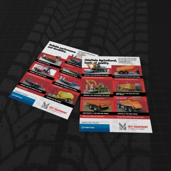 Second draft of 2-sided MTC A4 flyer, featuring used commercial and agricultural trailers. Printed full colour both sides of the sheet. An insert into the Ag Trader monthly magazine.