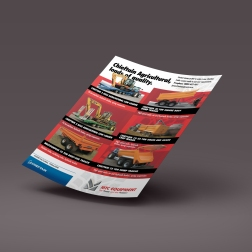 First draft of 2-sided MTC A4 flyer, featuring used commercial and agricultural trailers. Printed full colour both sides of the sheet. An insert into the Ag Trader monthly magazine.