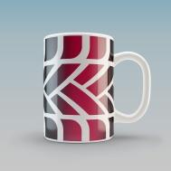 A white glazed ceramic mug with the MTC logo tyre tread pattern graphic wrapped around it.
