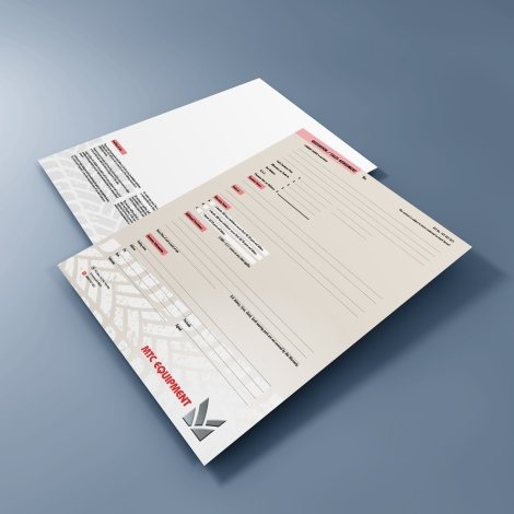 MTC Equipment Quotation / Sales Agreement form, printed full colour both front and back.