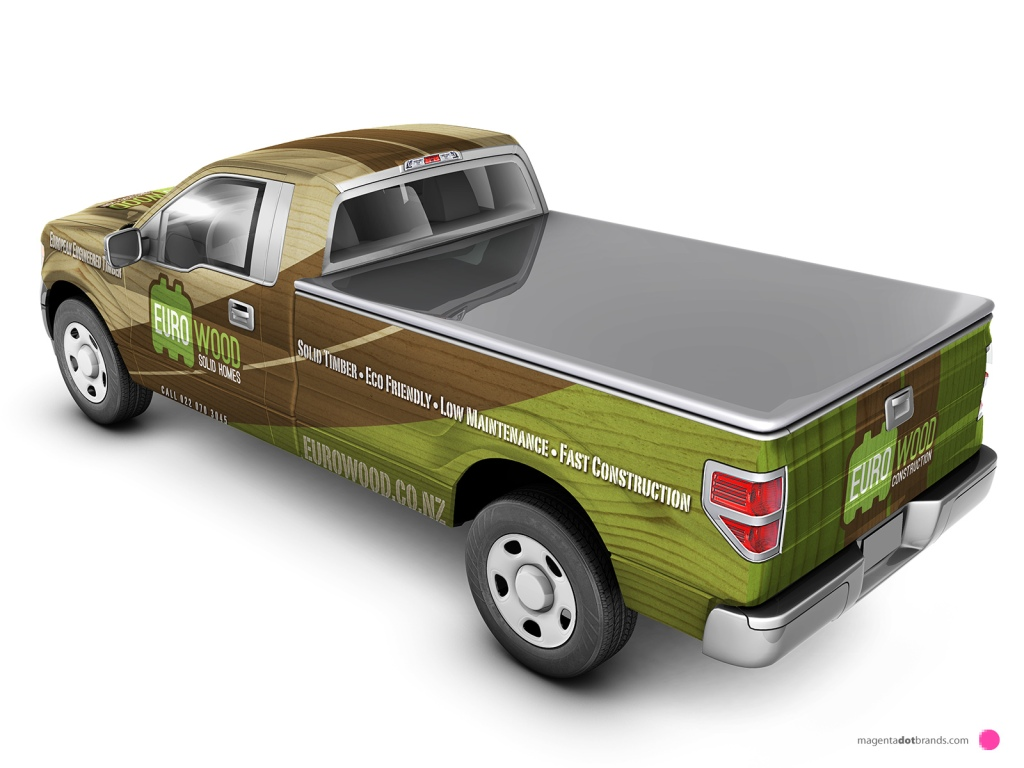 Euro-Wood Ford pickup branded vehicle wrap. Rear three-quarter view.