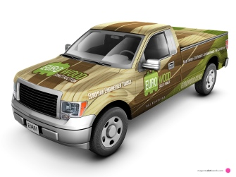 Euro-Wood branded Ford pickup vehicle wrap. Front threequarter view.