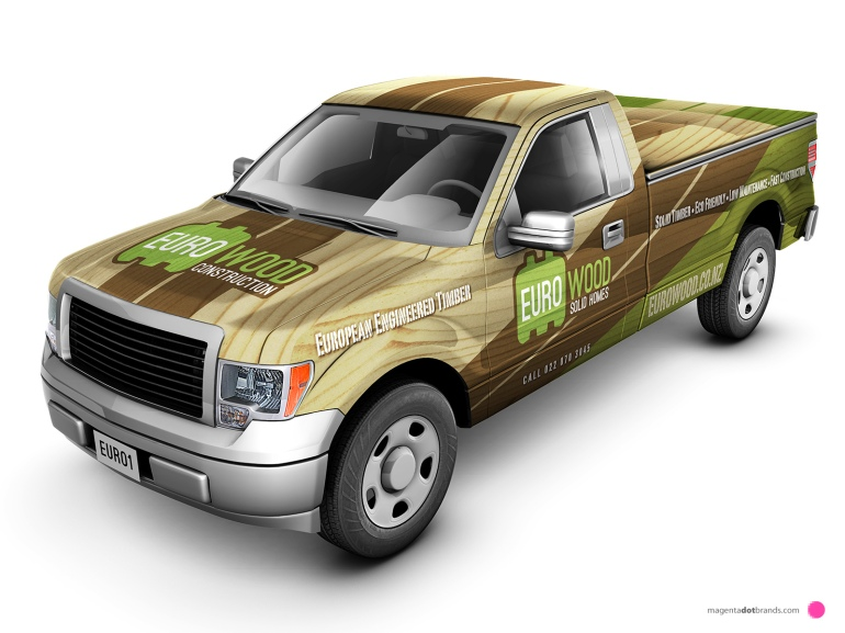 Euro-Wood Ford pickup branded vehicle wrap. Front threequarter view.