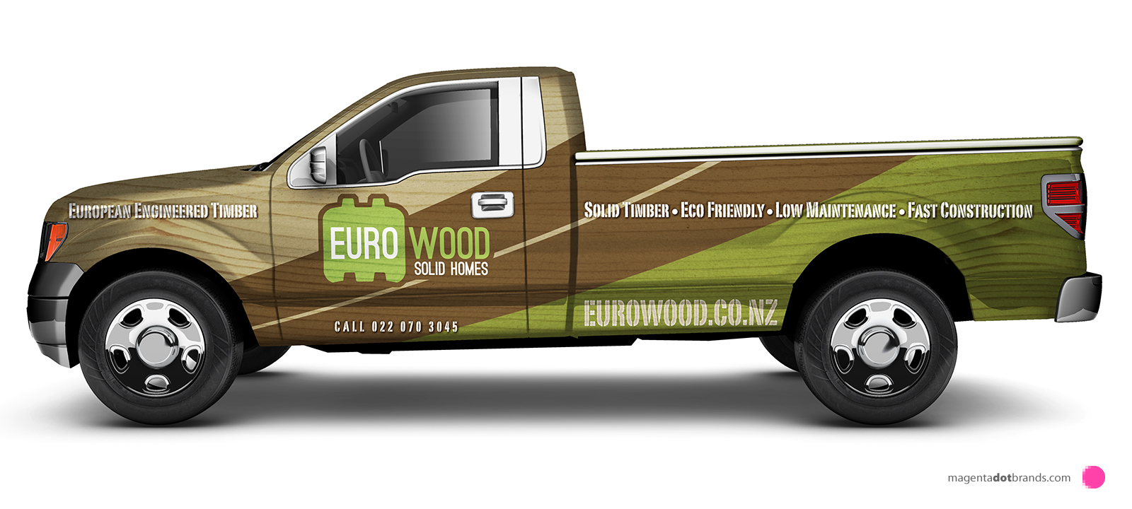 Euro-Wood Ford pickup branded vehicle wrap. Side elevation.