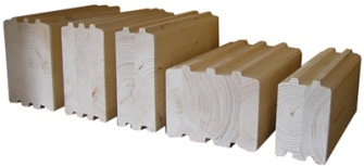 Eurowood different engineered timber log profiles, different laminated timbers.