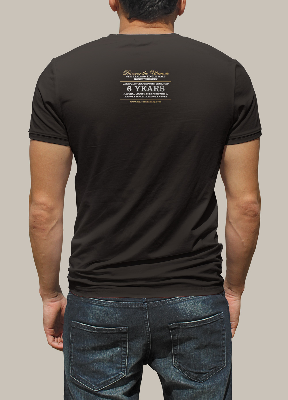 "Back of Waitui screenprinted promotional tshirt. ""Discover the Ultimate New Zealand Single Malt Honey Whiskey."""