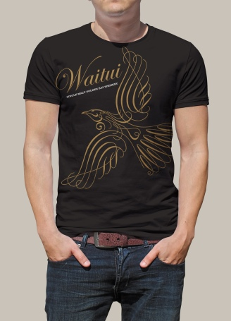 "Front of Waitui screenprinted promotional tshirt. ""Waitui Single Malt Golden Bay Whiskey"". Promotional products are a form of advertising that gets your brand noticed and delivers excellent engagement."