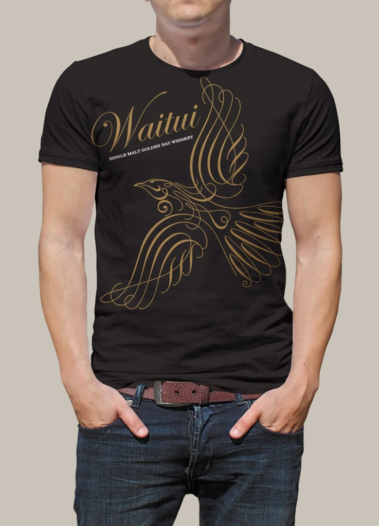 Front of Waitui screenprinted promotional tshirt