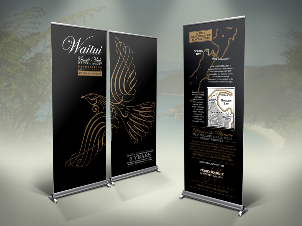 Trio of Waitui Single Malt Honey Golden Bay Whiskey pull-up banners based on the gift carton design for use at the Waitui product launch, and in future promotional instore displays and trade shows.