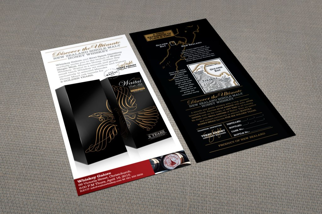 "Kiwi Spirit / Whiskey Galore co-branded launch event invitation. Front and rear view of digitally printed full colour two sided DL card mock up. ""Discover the Ultimate New Zealand Single Malt Honey Whiskey""."