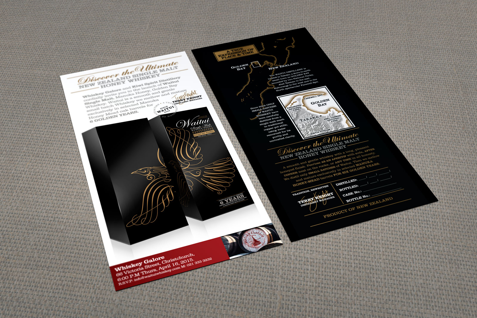 """Kiwi Spirit / Whiskey Galore co-branded launch event invitation. Front and rear view of digitally printed full colour two sided DL card mock up. """"Discover the Ultimate New Zealand Single Malt Honey Whiskey""""."""