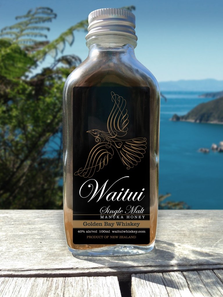 Waitui 125ml sample bottle, Golden Bay backdrop.