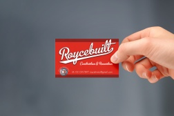 Roycebuilt Construction and Renovation& Renovation logotype on business card