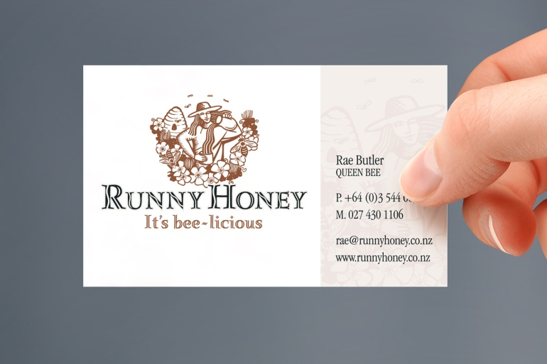 Runny Honey business card, hand held business card mockup.