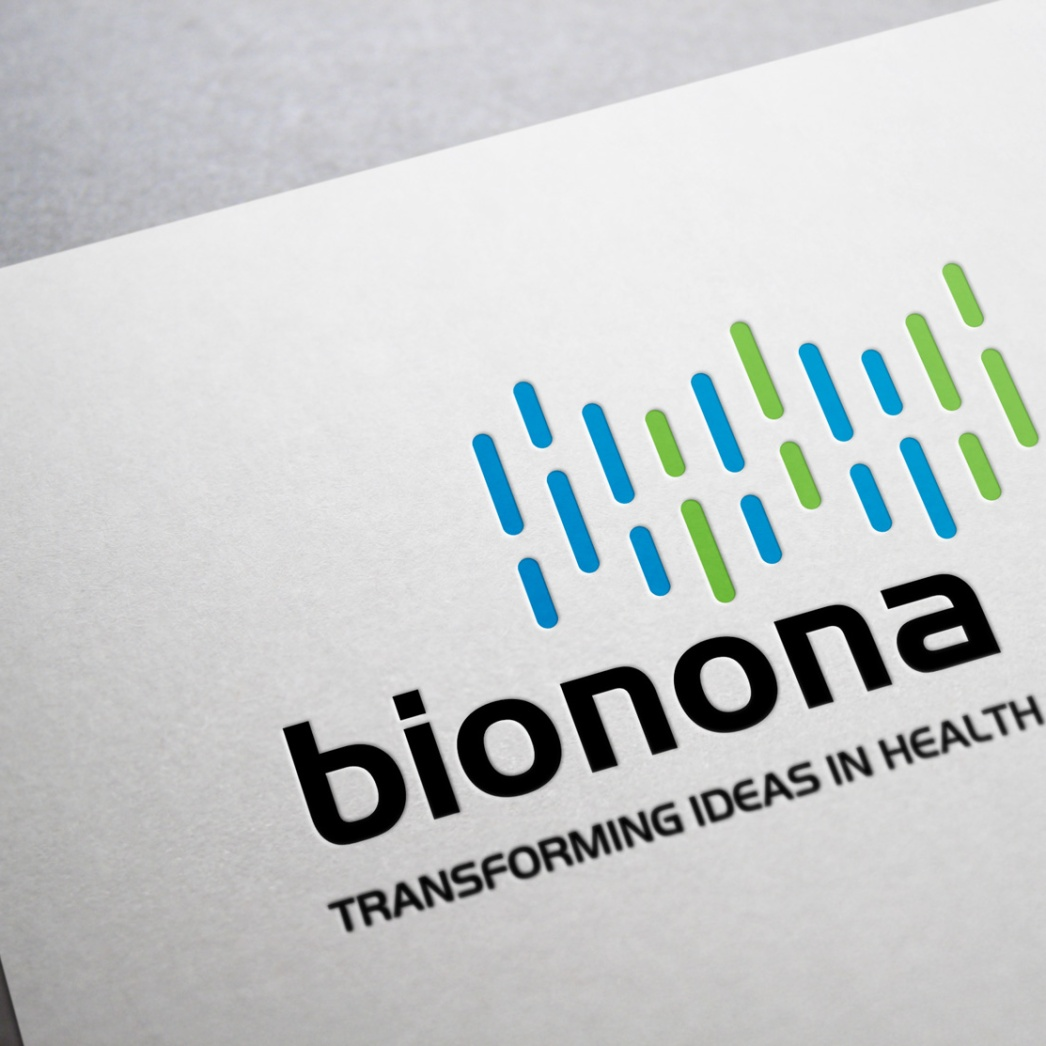 When the Bionona name and identifier are used together they create a strong signature for the company. The logo design is an infographic symbol of a snip of genetic code from one of Bionona's novel peptides.