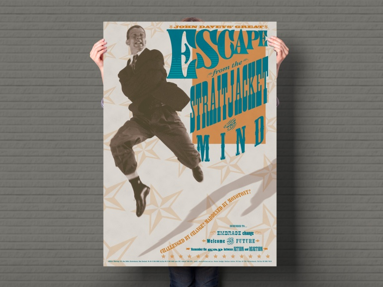Escape from the Straitjacket of the Mind, 2 colour A1 portrait poster.